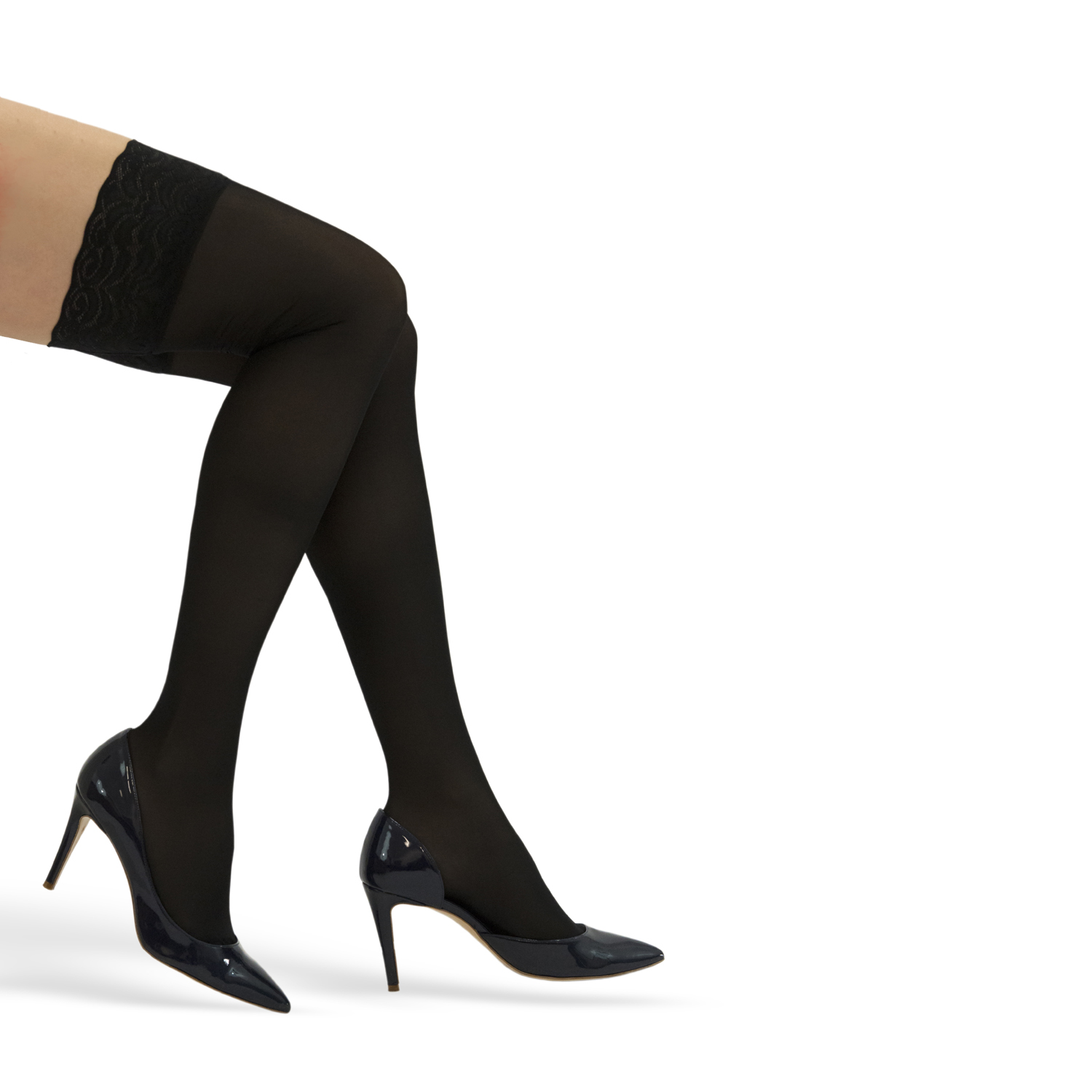 GABRIALLA Style H-40 Lace Top Thigh Highs w/ Silicone Band
