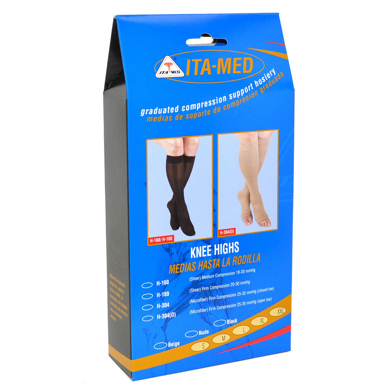 ITA-MED Style H-304 Microfiber Unisex Knee Highs Closed Toe