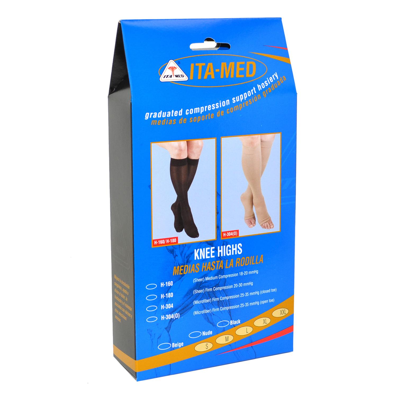 ITA-MED Style H-304(O) Microfiber Unisex Knee Highs Open Toe